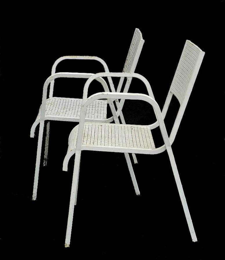 Pair of Mid Century French Metal Garden Chairs Armchairs Fauteuil