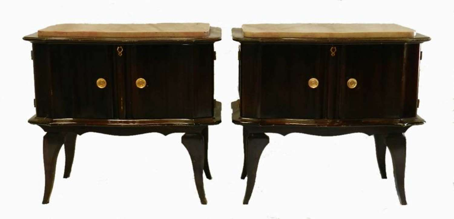 Pair Mid Century Deco French Side Cabinets Bedside Tables Nightstands