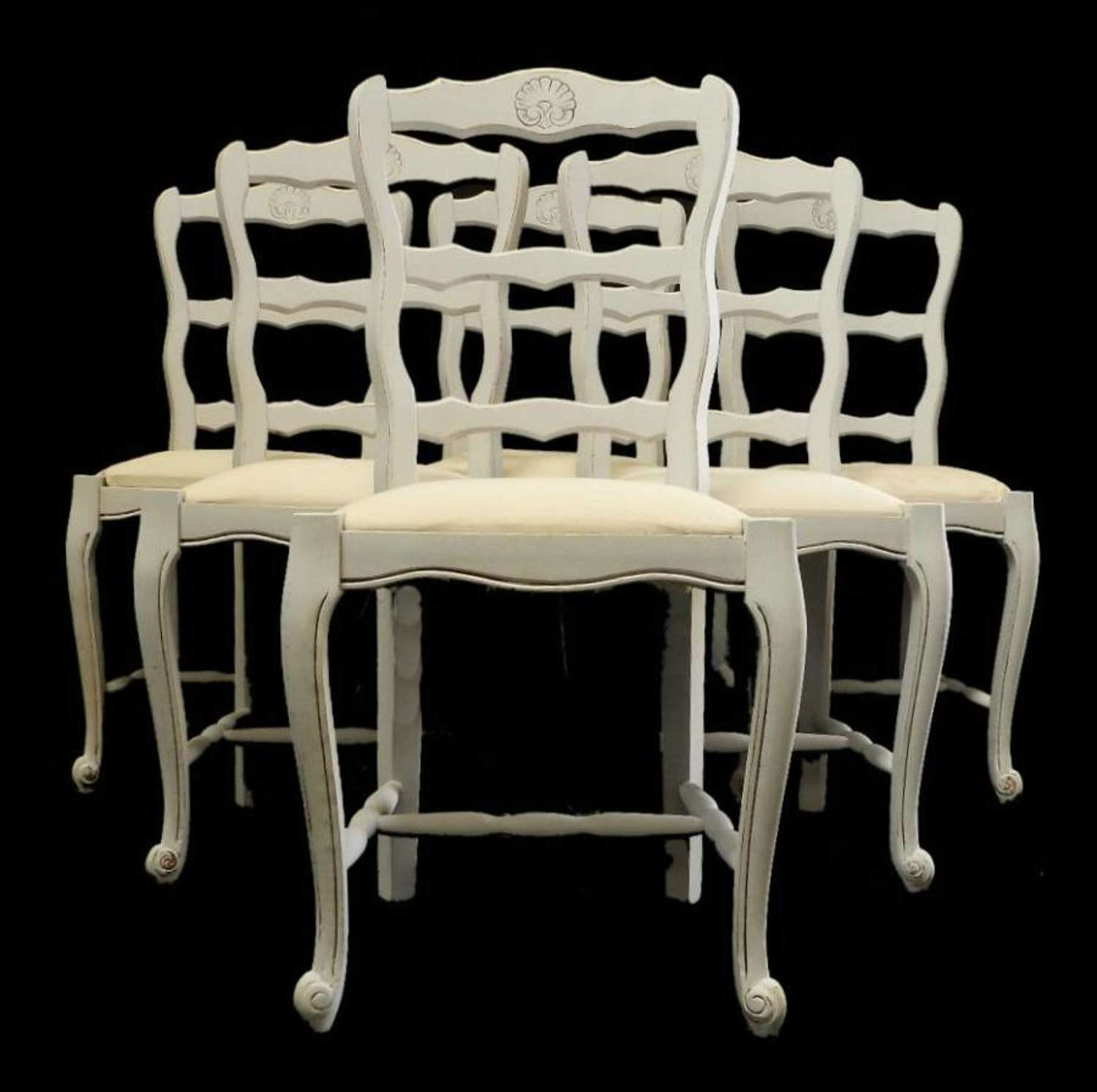 6 Painted French Dining Chairs Ladder Back Louis revival