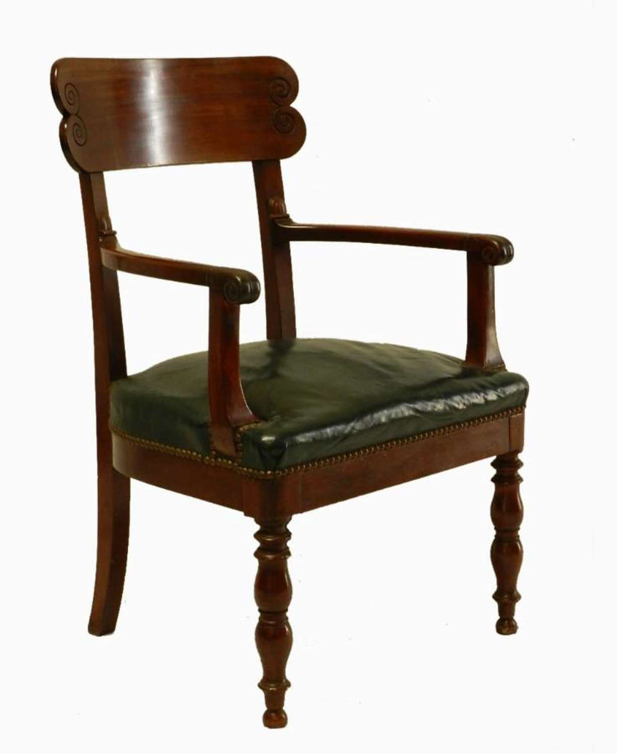 Good French Provincial Desk Chair Library Open Armchair with Leather Seat