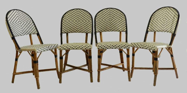 4 French Bistro Chairs Woven Maison Gatti Rattan Paris style