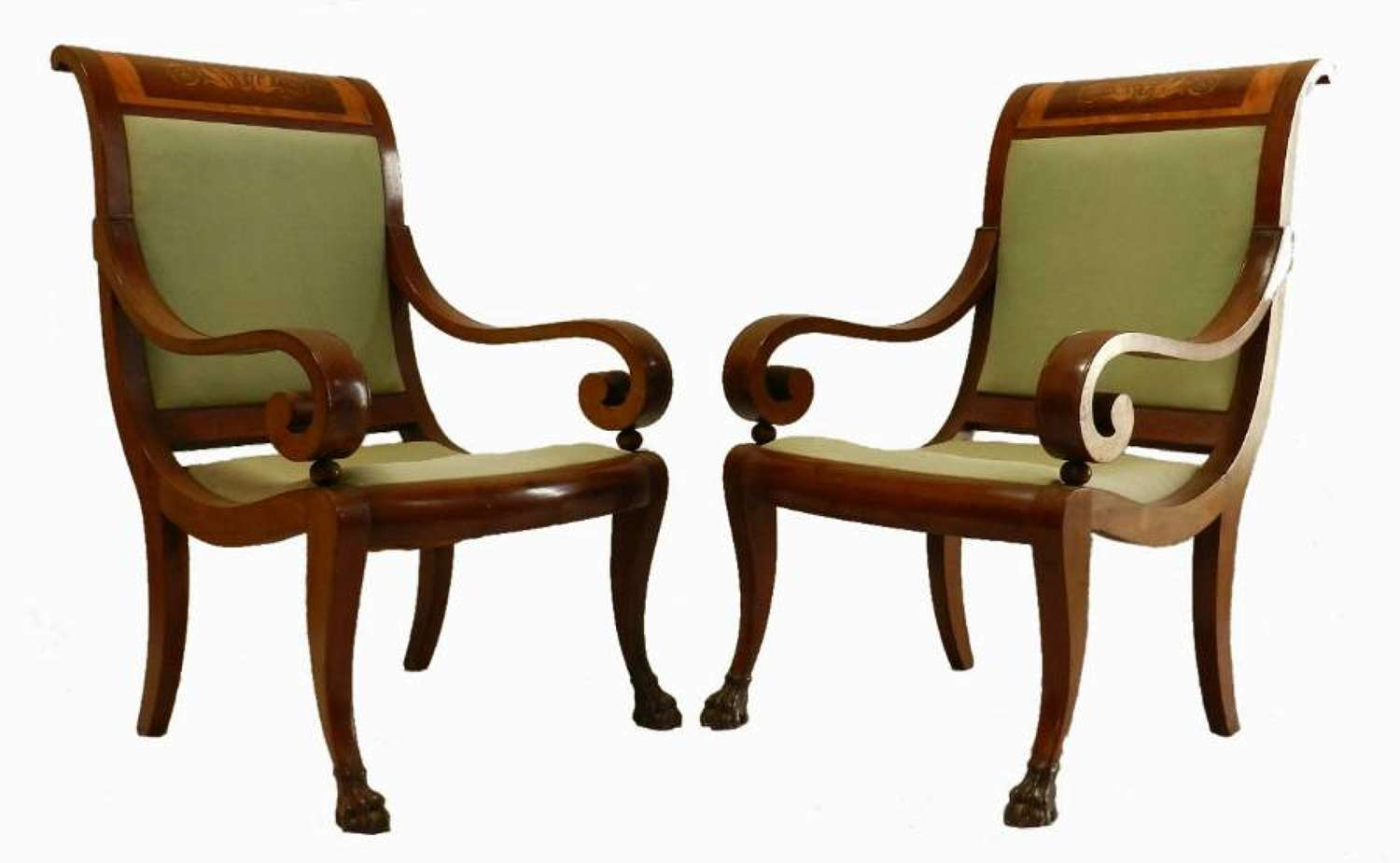 Early C19 French Directoire Transitional Empire Chairs Fauteuil open Armchairs