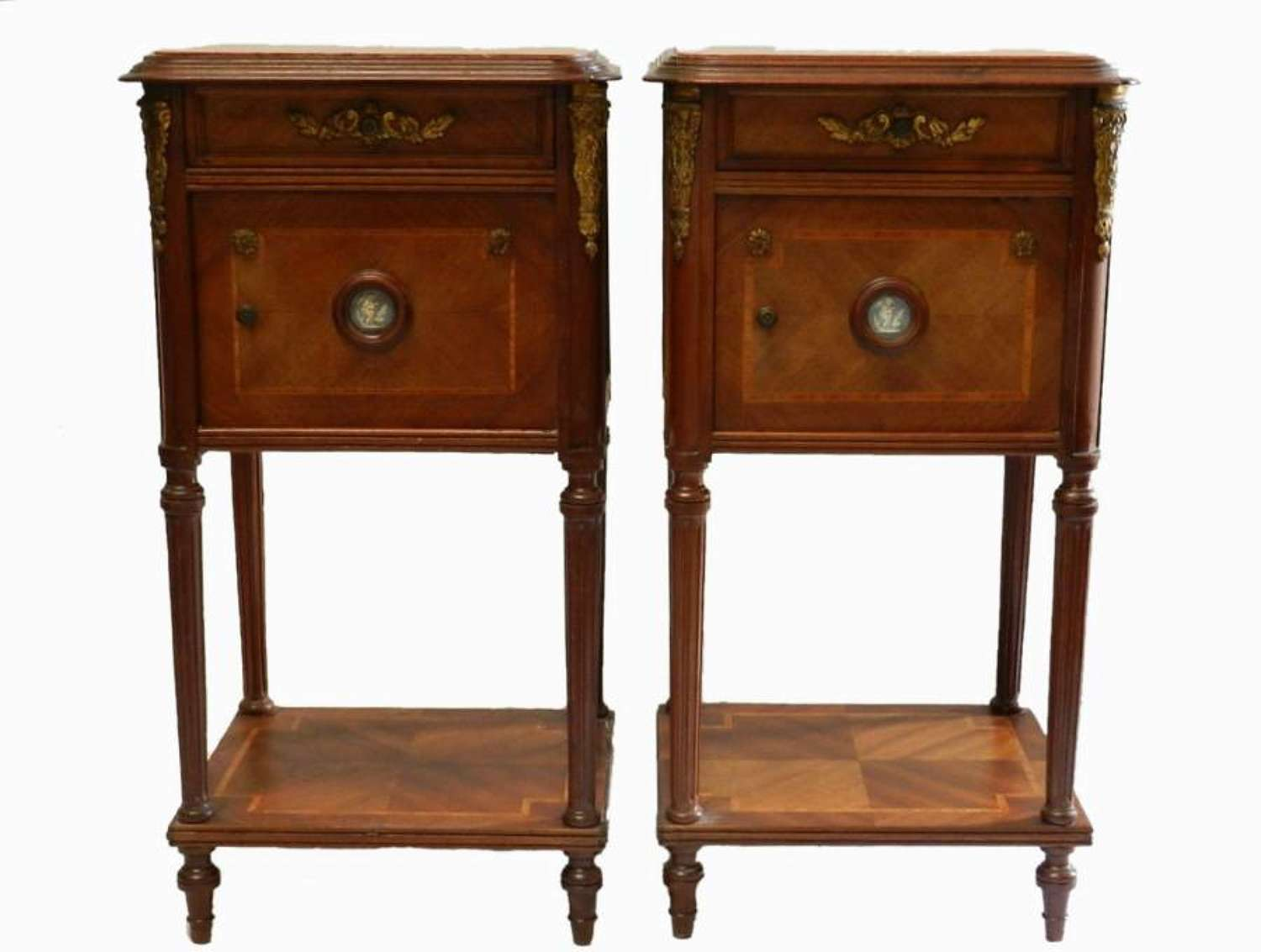 C19 Pair of French Side Cabinets Bedside Tables with Limoges plaques and Ormolu