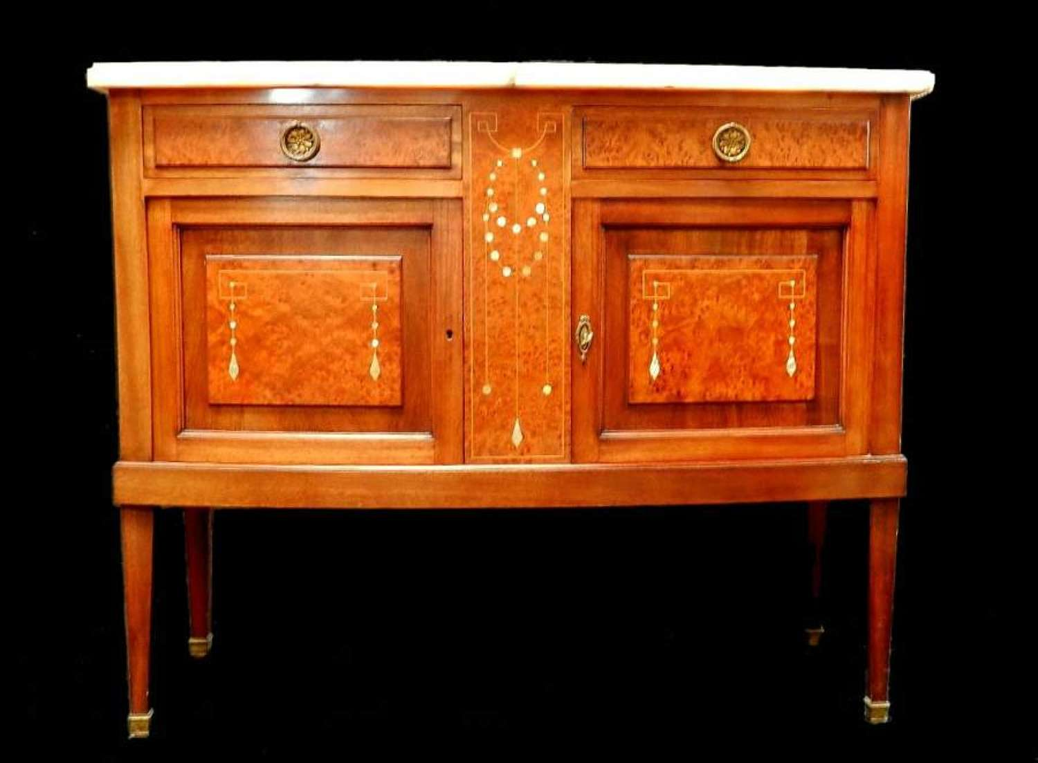 C1920 French Sideboard Chiffonier Side Cabinet Marble Top Inlaid MoP