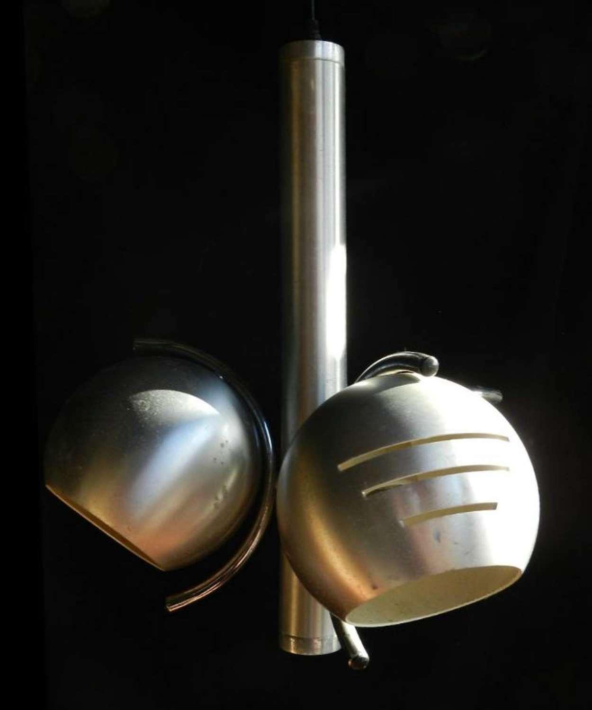 Unusual 1970`s Hanging Ceiling Light brushed Aluminium Globes
