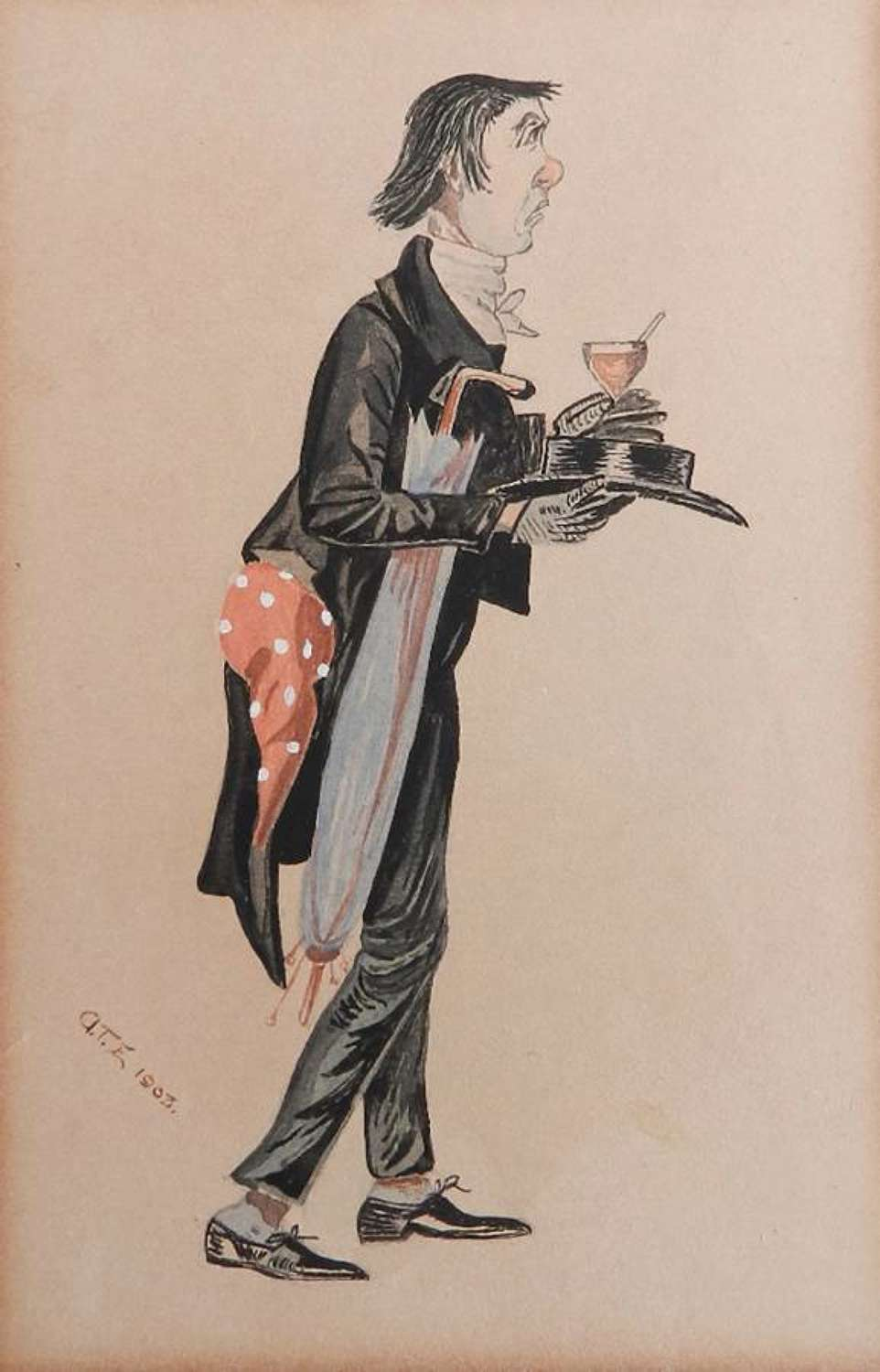 1903 Signed Caricature Watercolour Mr Stiggens Dickens Character after Kyd