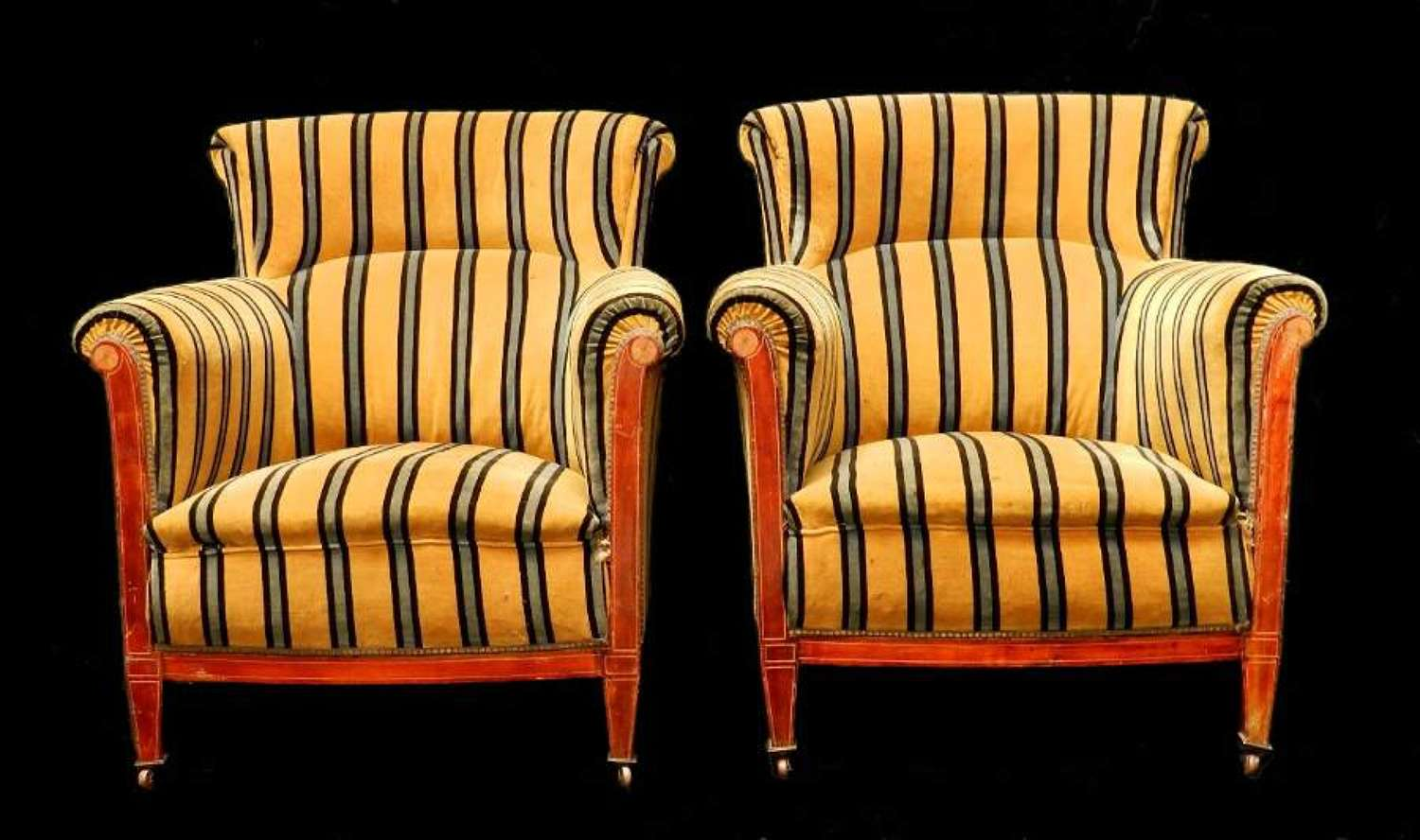 Handsome Pair of French Armchairs Fauteuils c1900 to restore / re-upholster