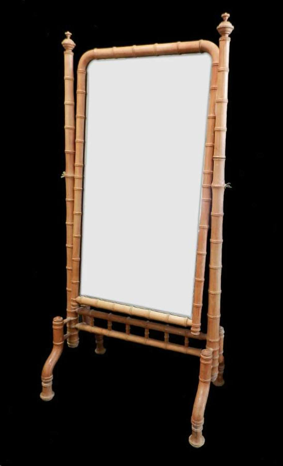 C19 French Faux Bamboo Cheval Mirror