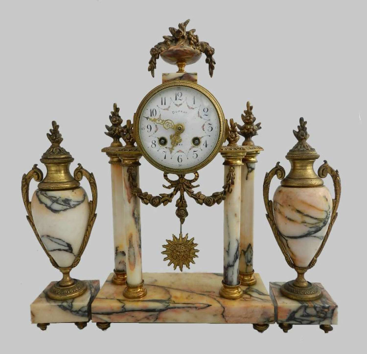 C19 French Portico Clock Garniture Marble and Ormolu