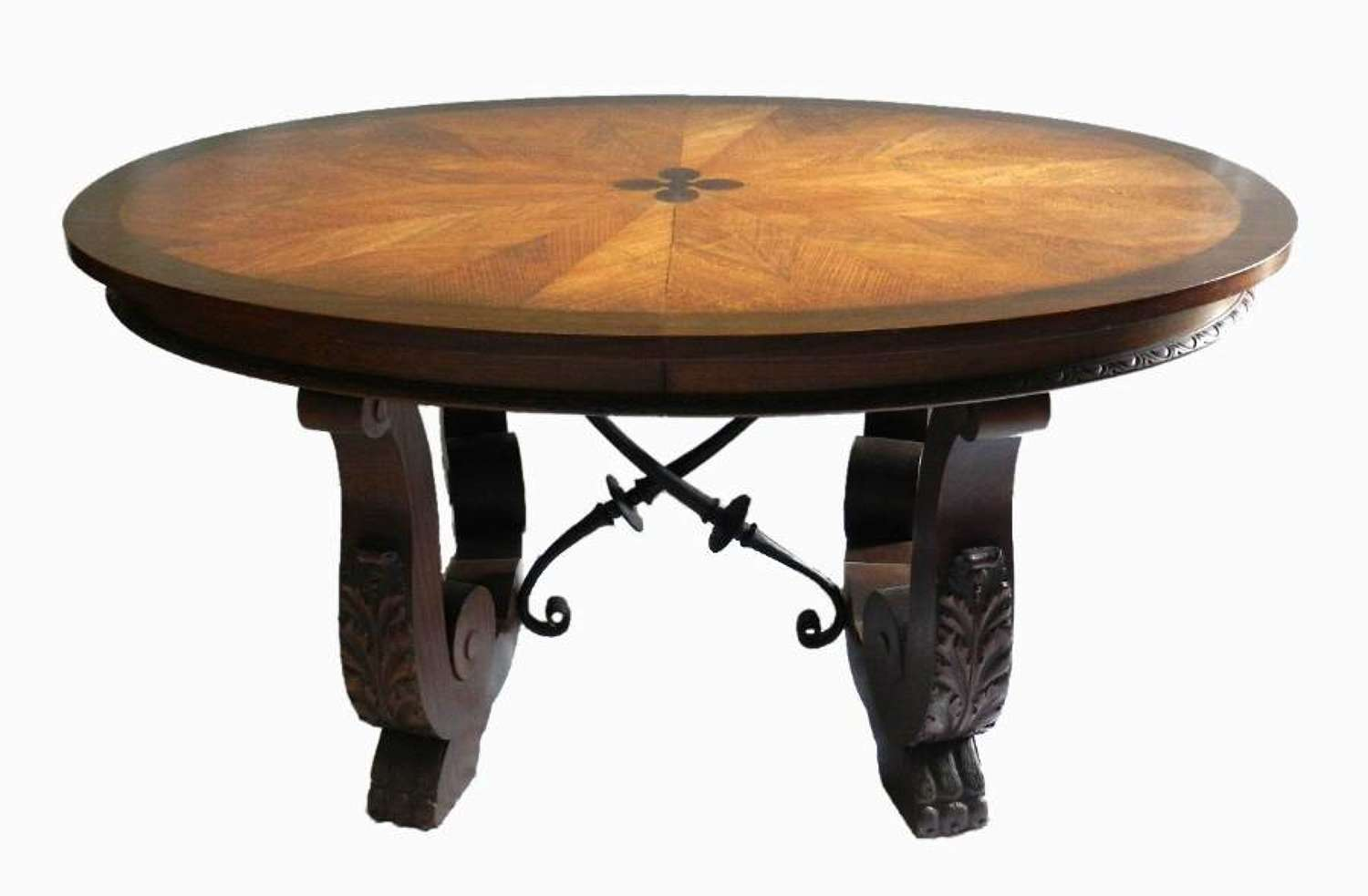Unusual French Basque Spanish Centre / Dining Table Parquetry Inlaid Top