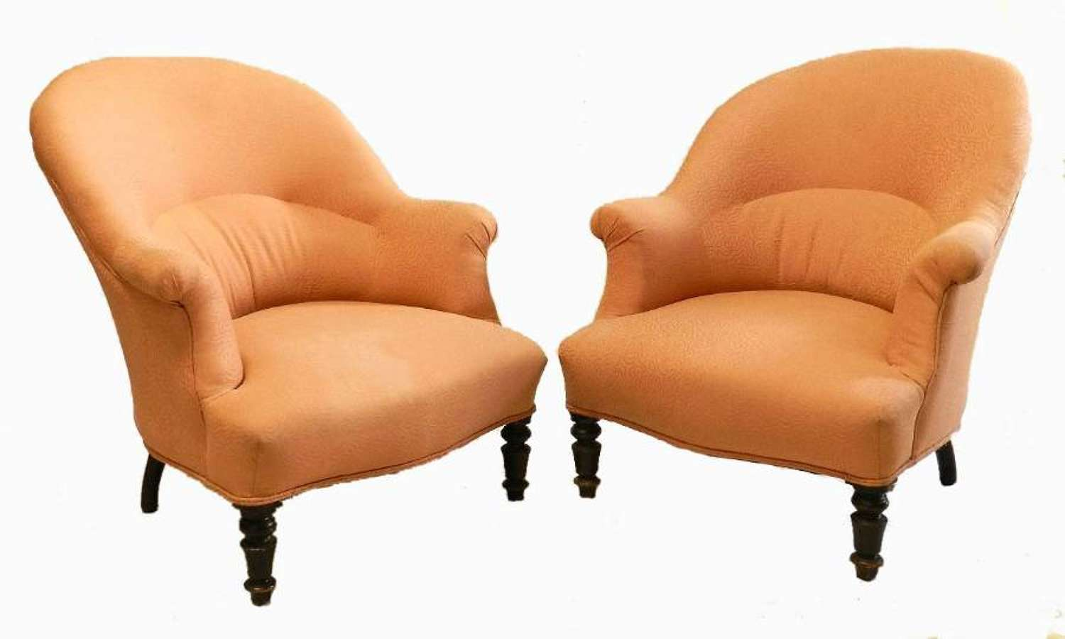 Pair of C19 Napoleon III French Armchairs Fauteuil Slipper Chairs