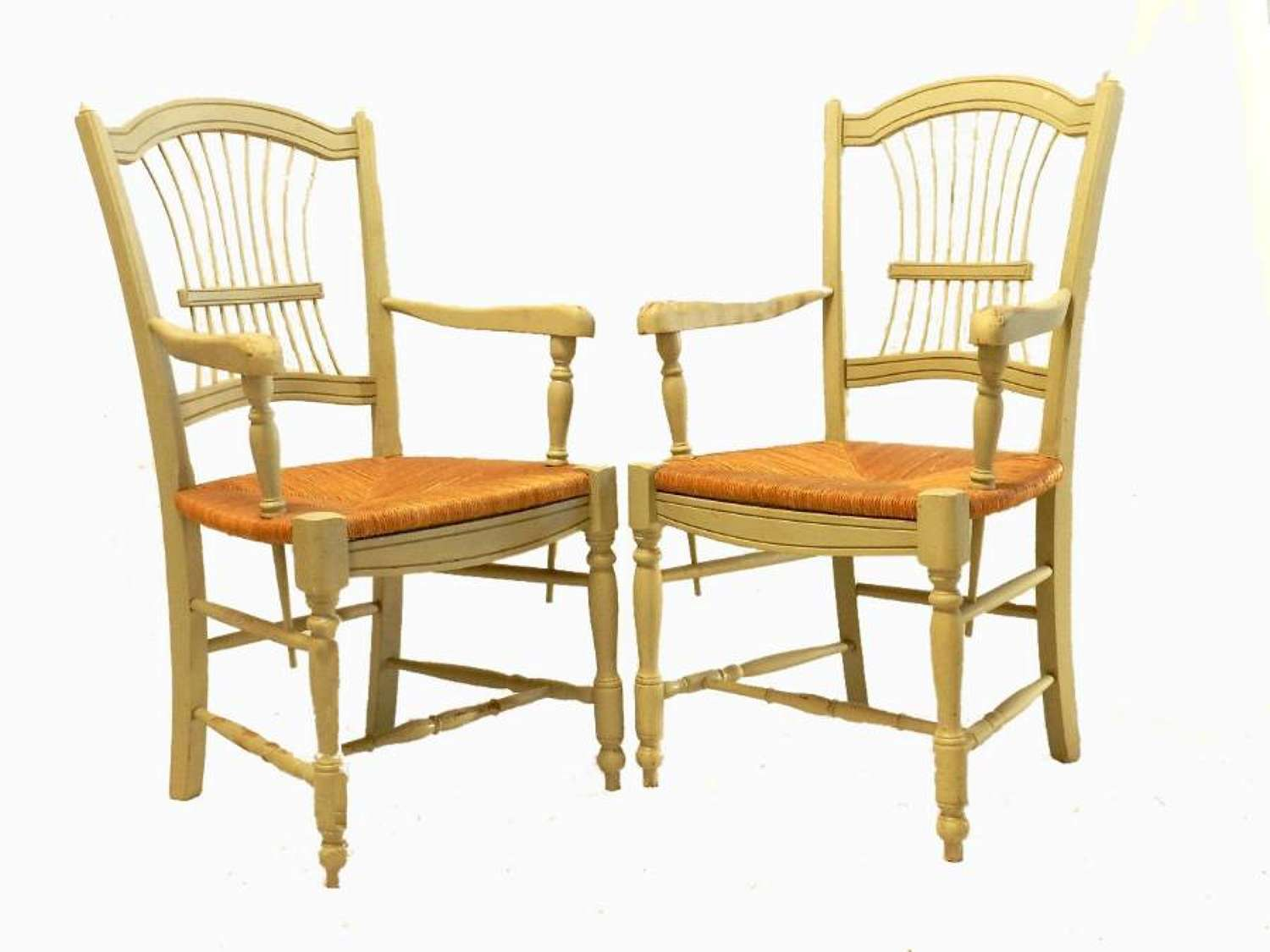 Pair of  French Open Armchairs Fauteuil Wheatsheaf