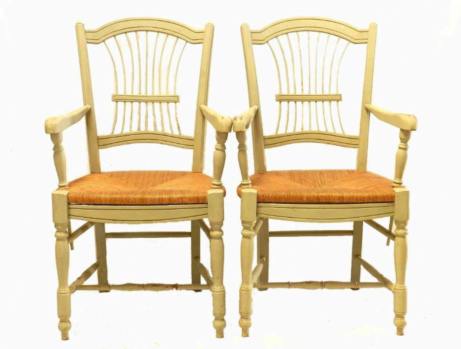 Pair of  French Open Armchairs Fauteuil Wheatsheaf 2nd matching pair available