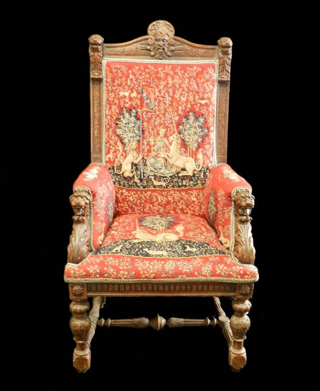 C1840 Renaissance French Throne Chair Fauteuil Masters Armchair