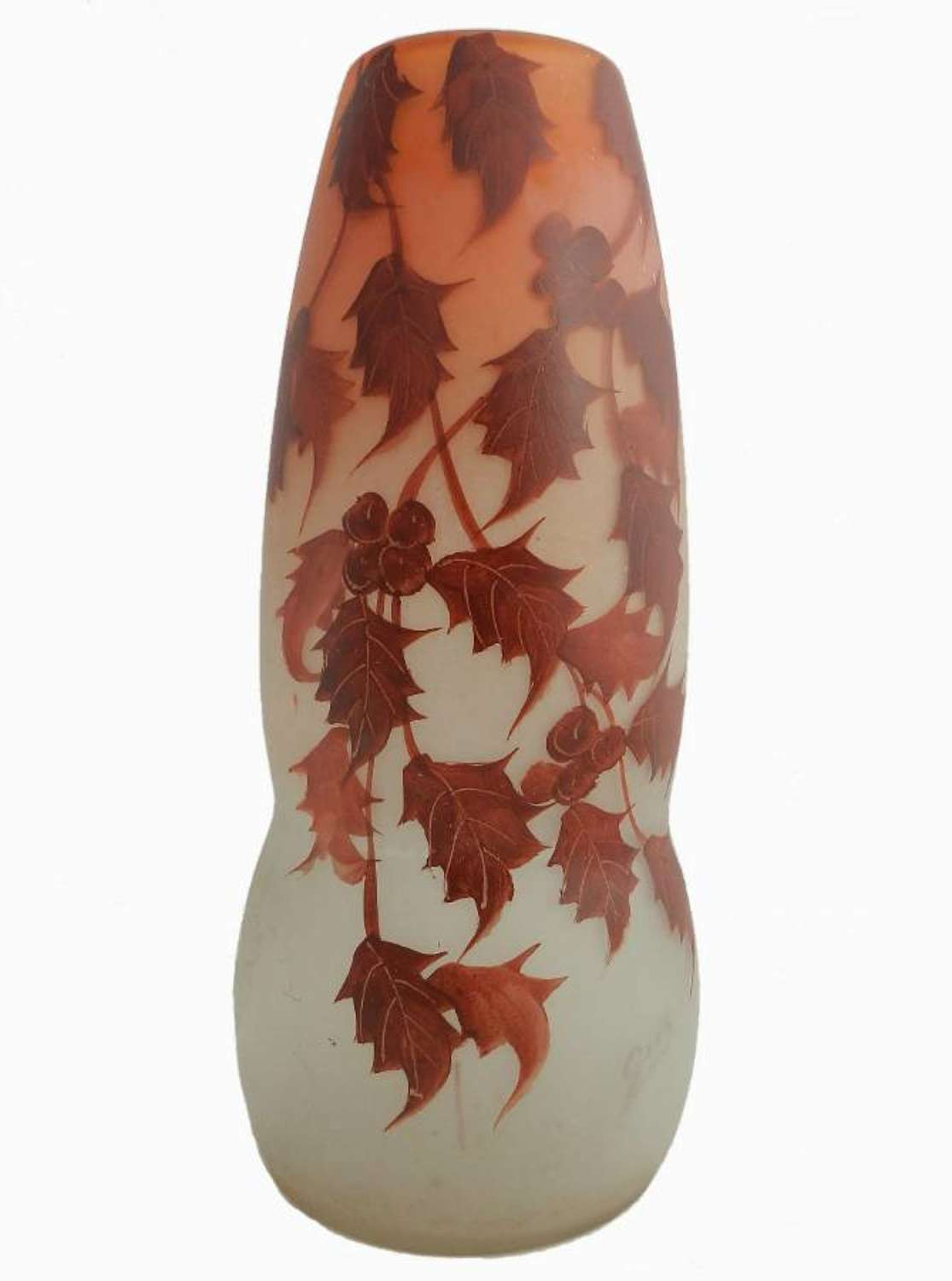Art Nouveau c1910 Hand Painted French Opaque Glass Signed Vase