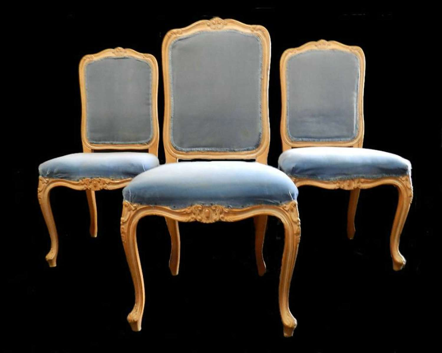 4 Broad seated early vintage French Louis Dining Chairs to recover