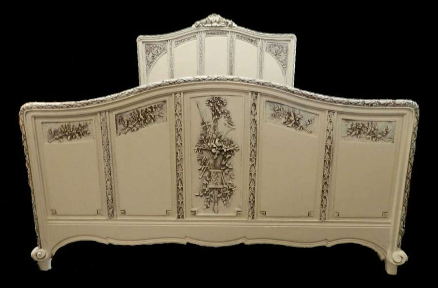 Rare C19 Louis XVI French painted King size Bed
