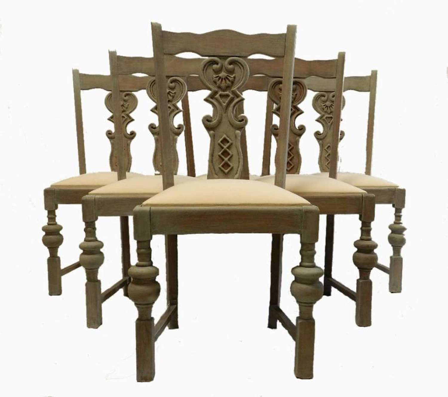 Set of 6 Dining Chairs Scandinavian style painted Oak