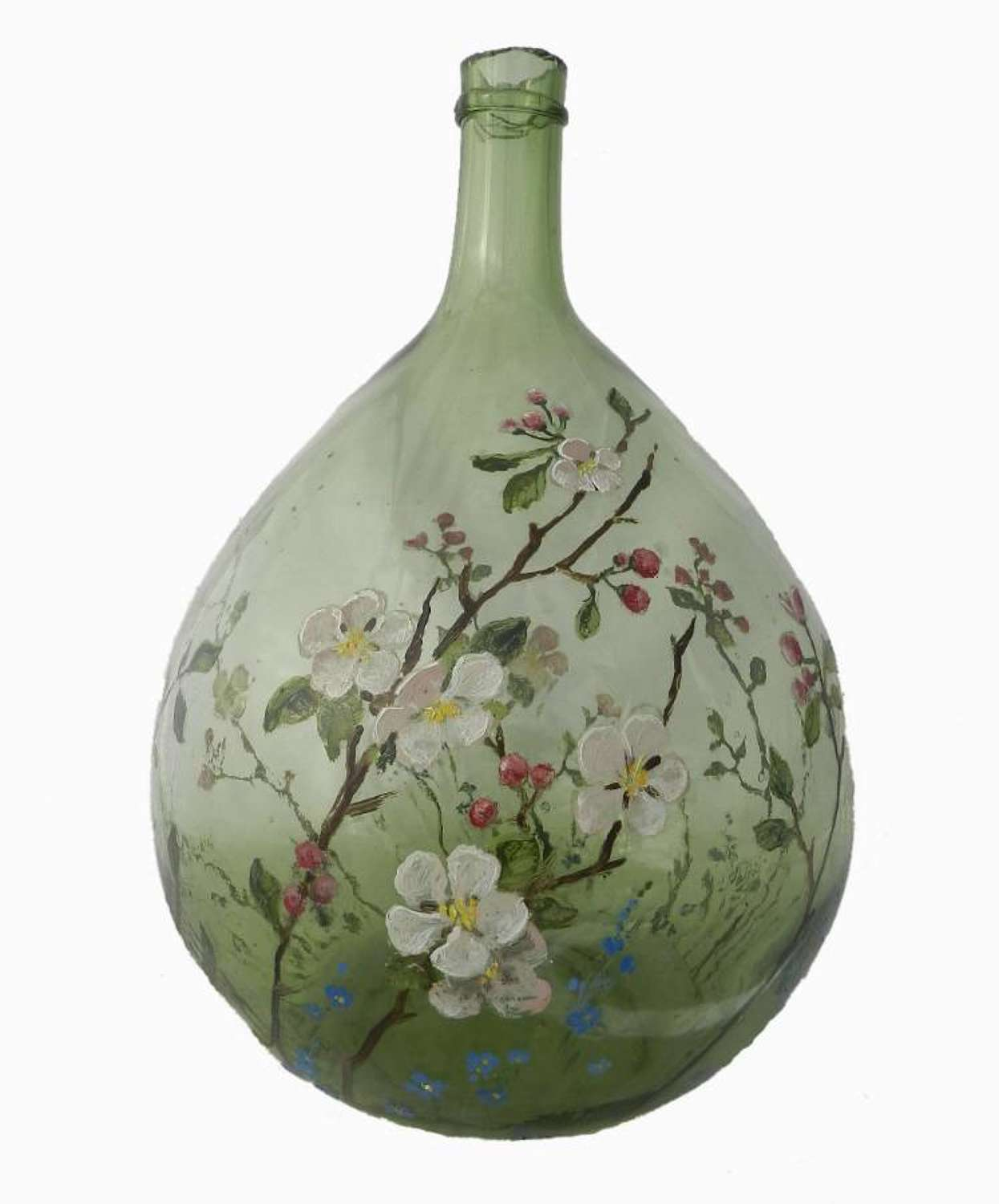 C19 French Wine Hand Painted Hand Blown Green Glass Onion Carboy Demijohn