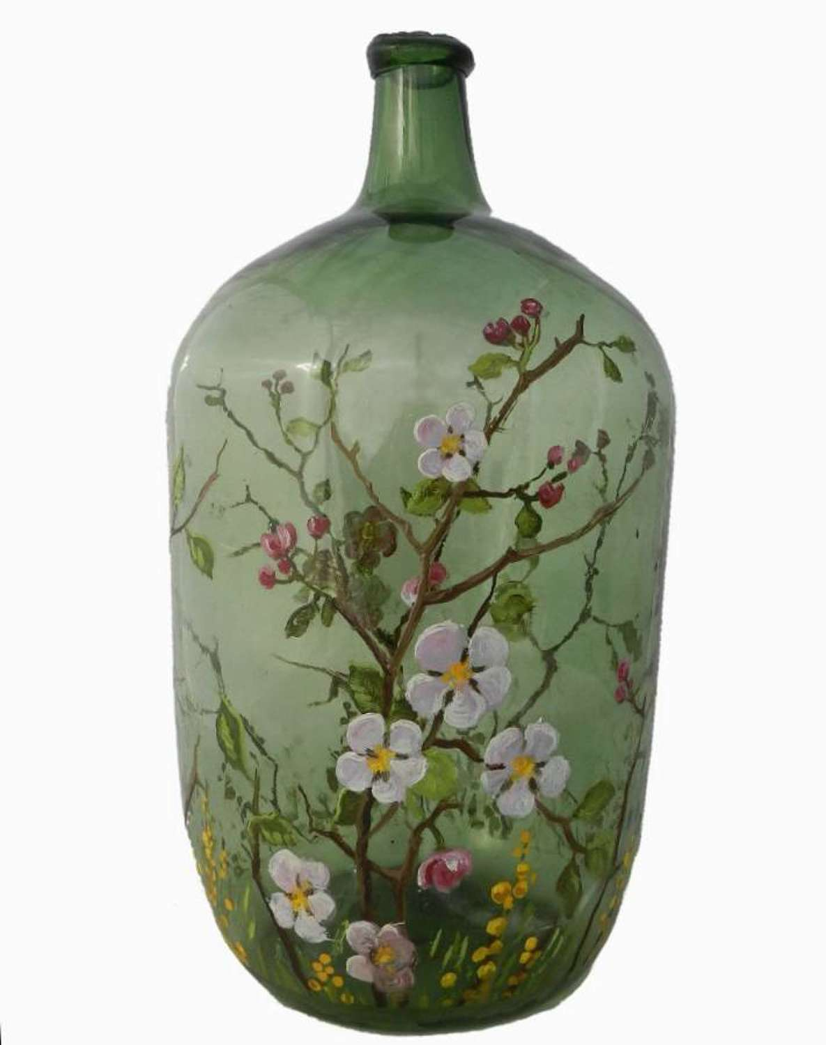 C19 French Wine Hand Painted Hand Blown Green Glass Carboy Demijohn