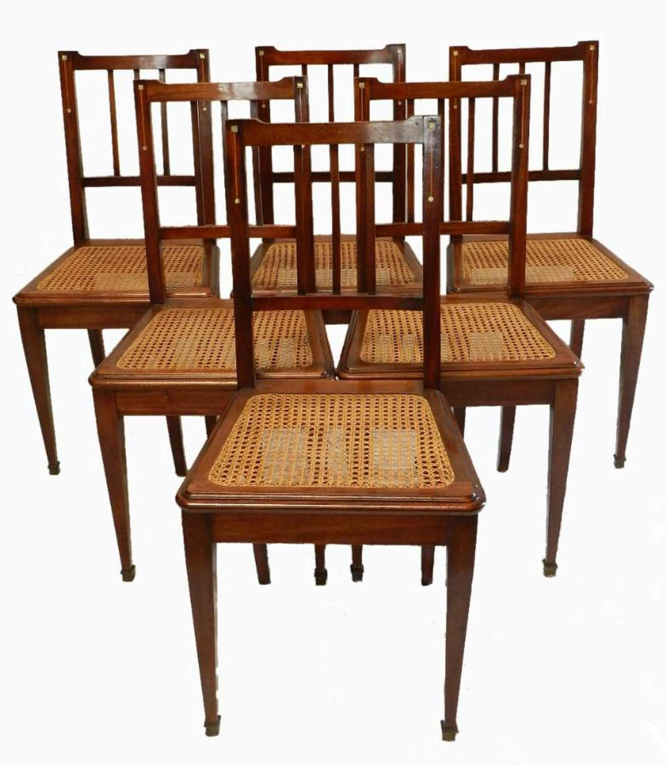6 Cane Seat French Art Deco Dining Chairs MoP