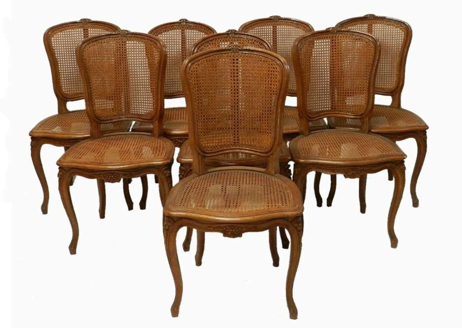 Good Set of 8 early C20th Louis French Dining Chairs Bergere Caned Oak