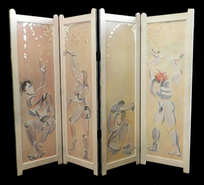 Unique Mikel Dalbret signed original Painted Screen Room Divider