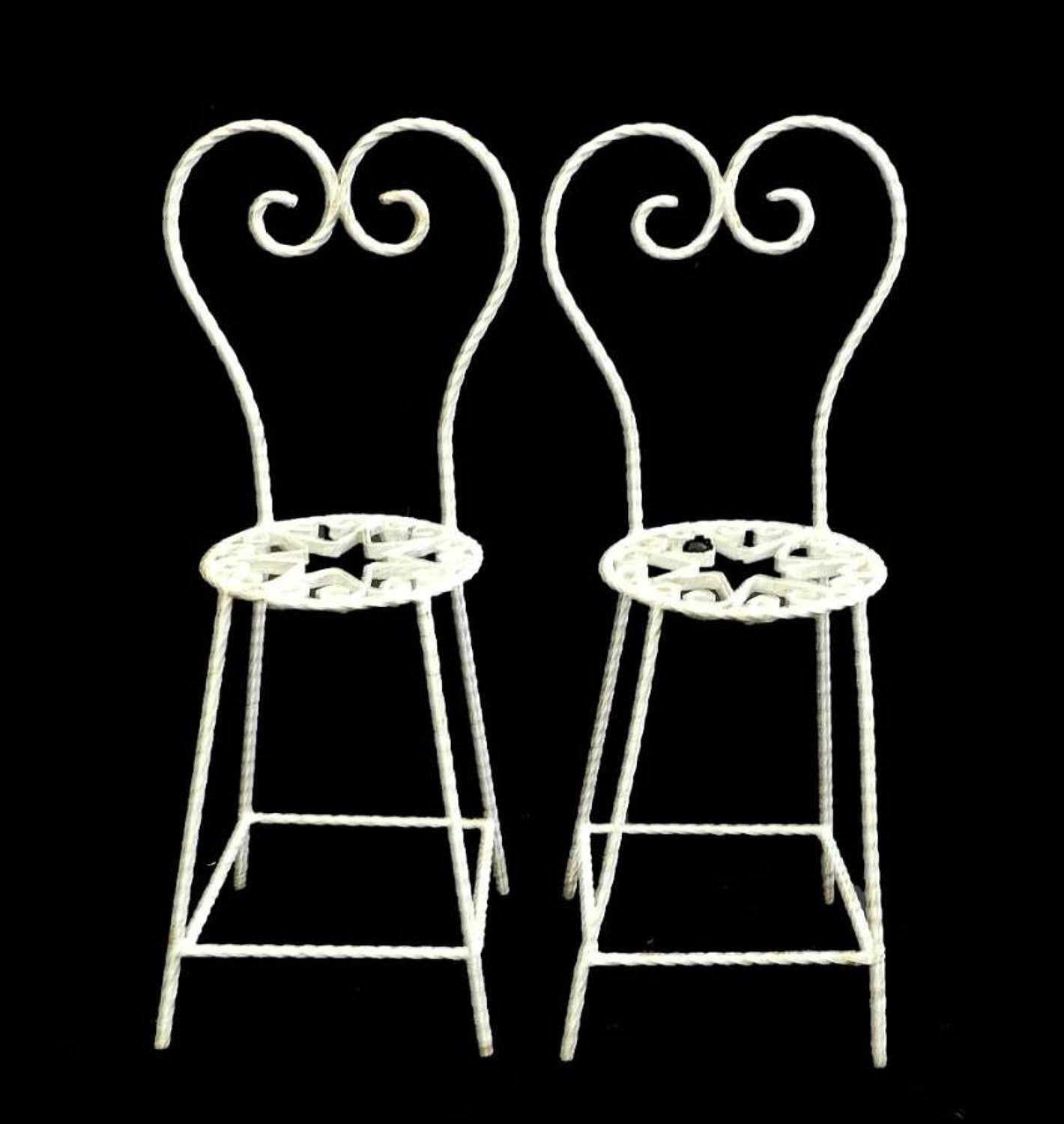 Pair of Childs size French Iron Garden Chairs Decorative Stands Mid Century