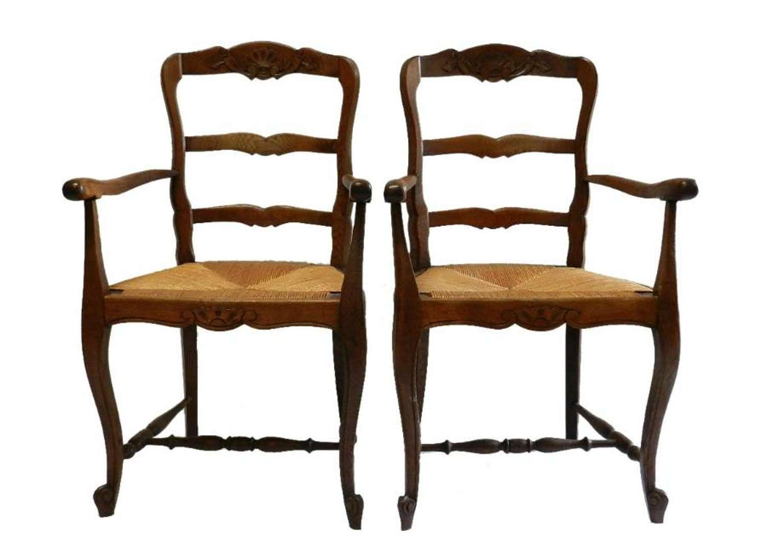 Pair Provincial French Louis Chairs Dining Carvers Farmhouse Kitchen