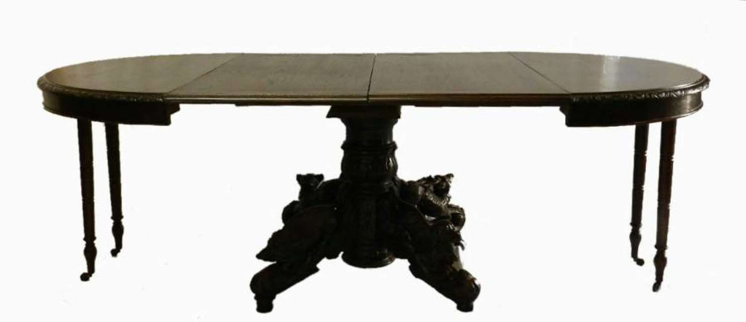 French Extending Dining Table c1860 Carved Oak Pedastal Hunt Table