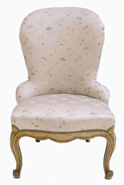 Craquelure French Louis Boudoir Chair Fauteuil
