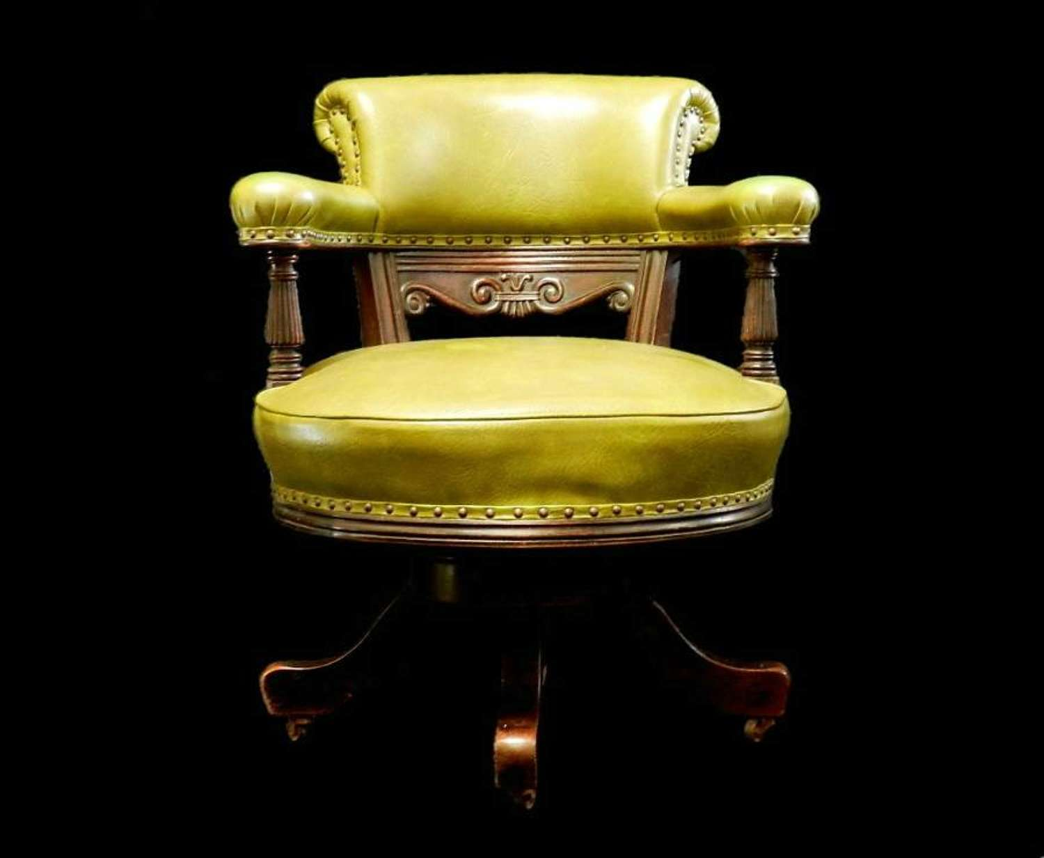 C19 Captains Revolving Desk Chair Library Leather Armchair