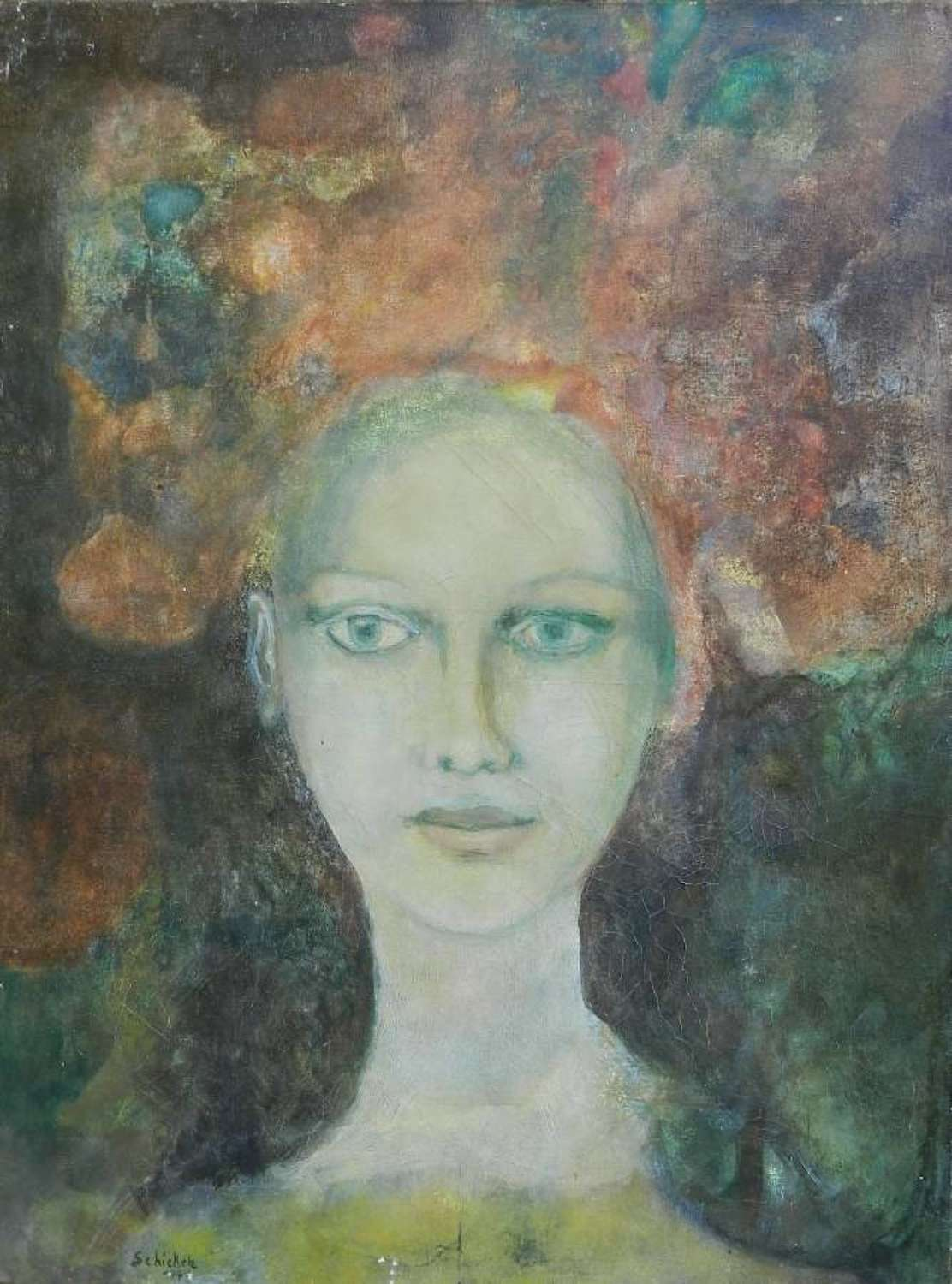 Oil on Canvas Painting of a young Woman signed Schikele `42