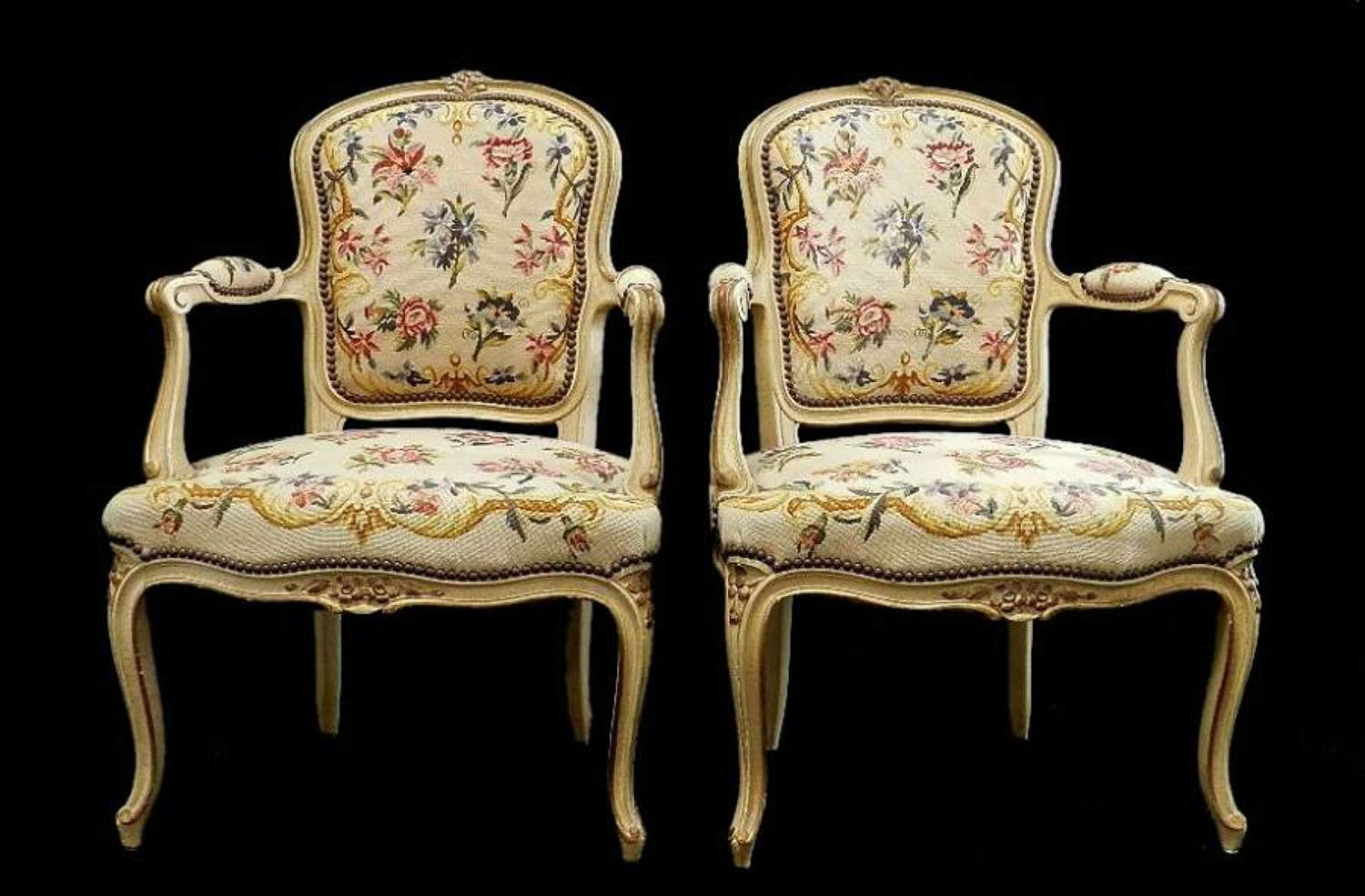 Exceptional Pair of French Fauteuil Armchairs by Hugnet Paris
