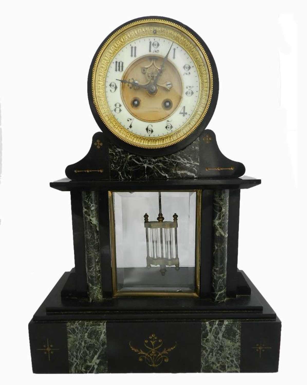 French Mantle Clock Slate & Marble Mesnard Bordeaux c1870
