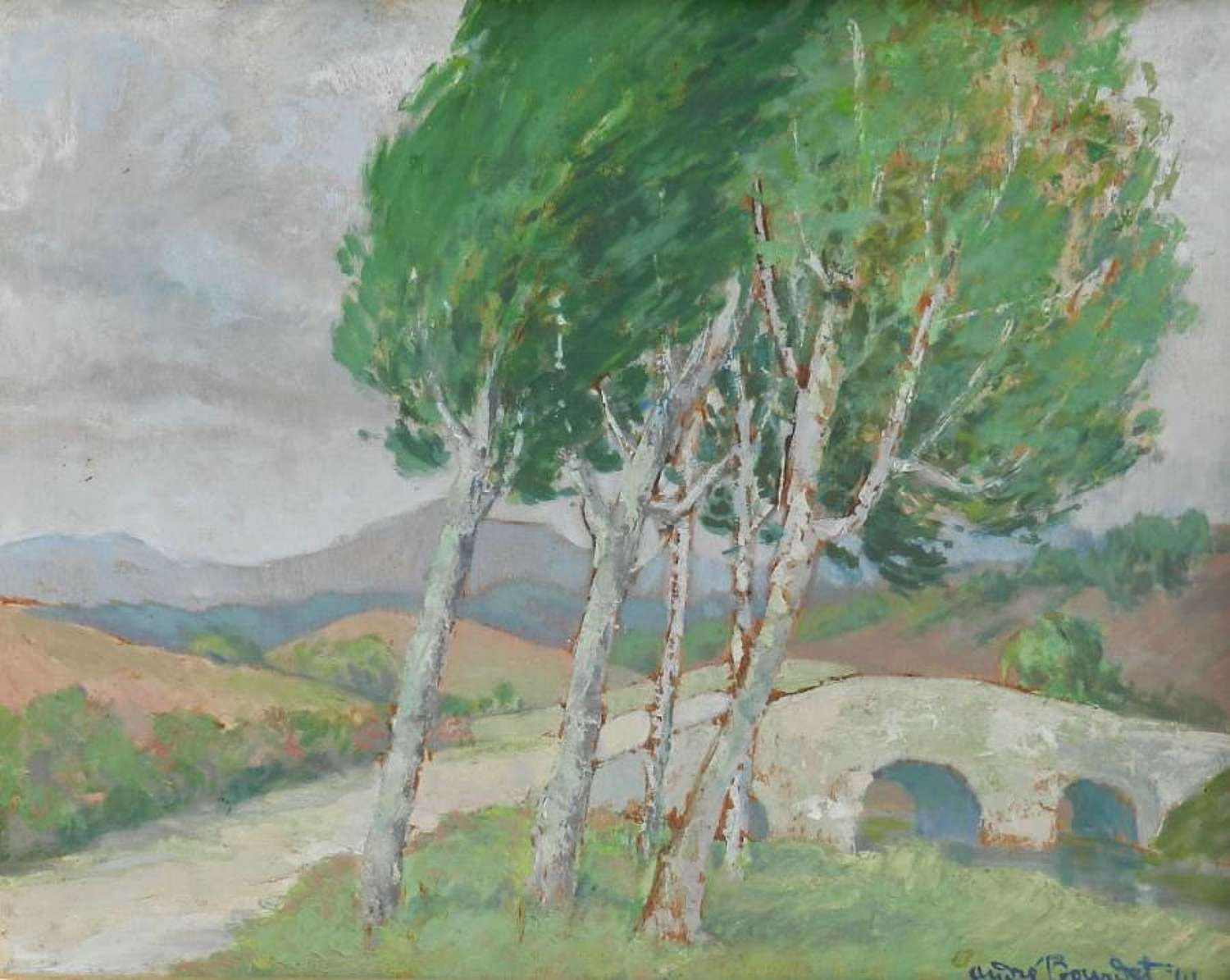Pays Basque France Painting signed Andre Bourdet Oil on Board