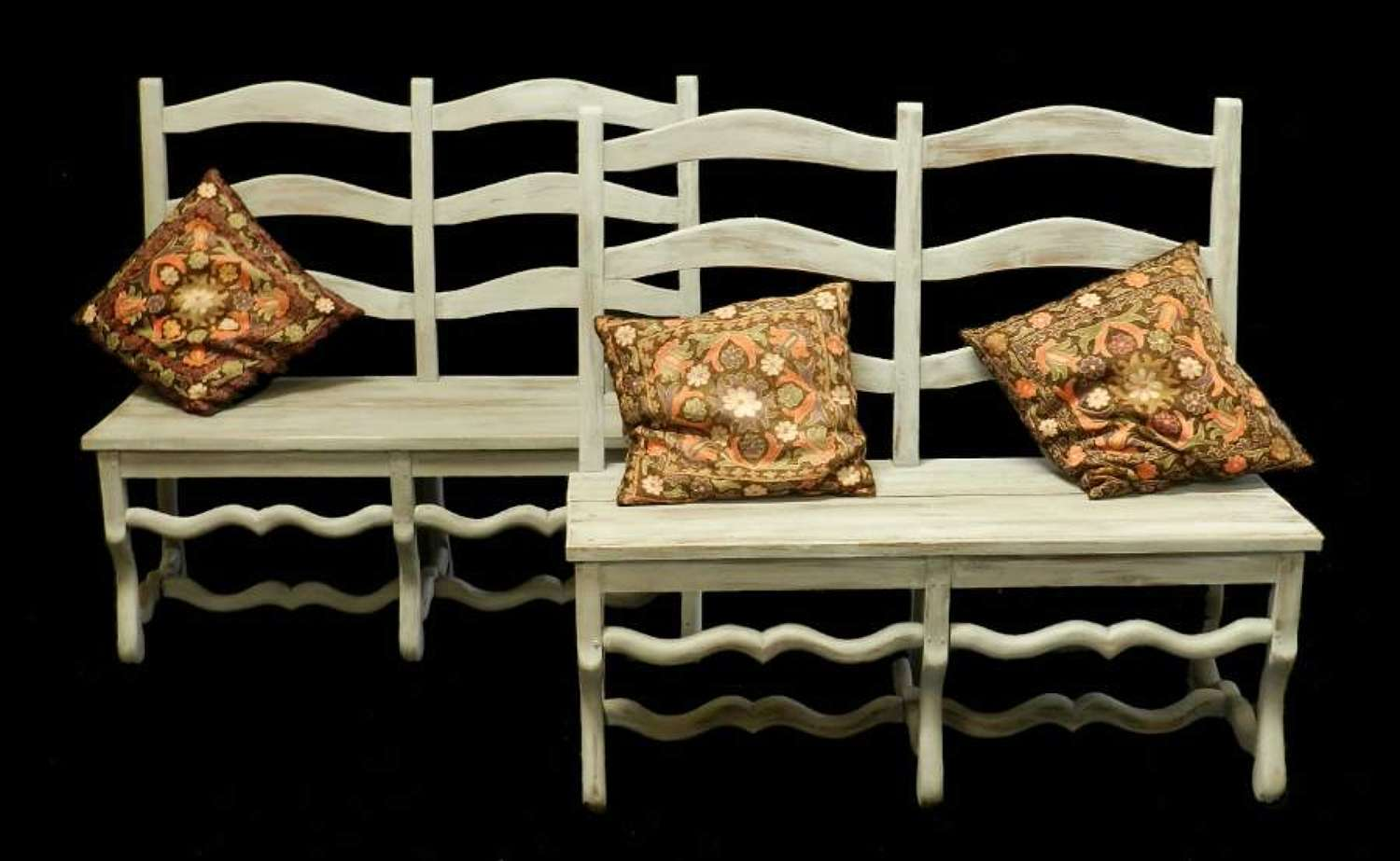 Pair of Os de Mouton French Benches Settles early C20 painted Bench