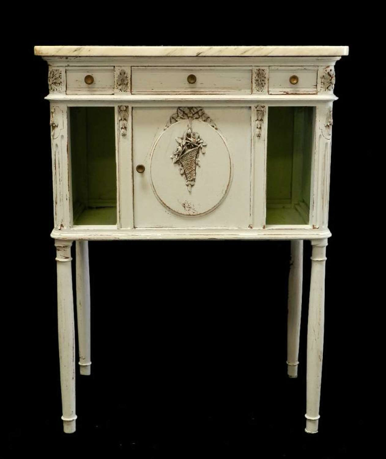 C19 Antique French Side Cabinet Louis XVI Nightstand Bedside Table