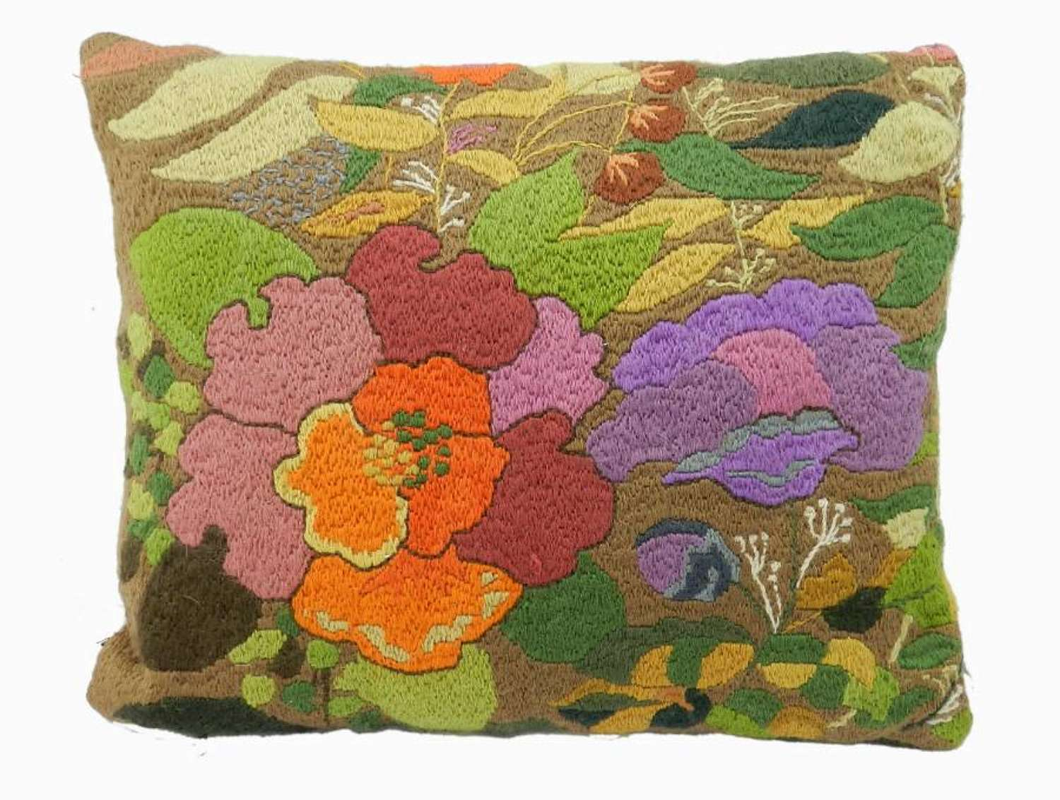 French Woolwork Embroidered Cushion Cover c1930s