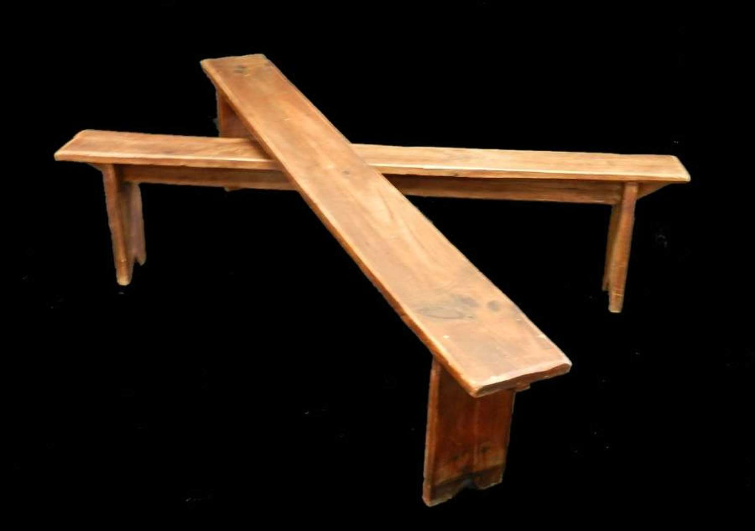 Pair of French Pine Benches Primitive Country Provincial