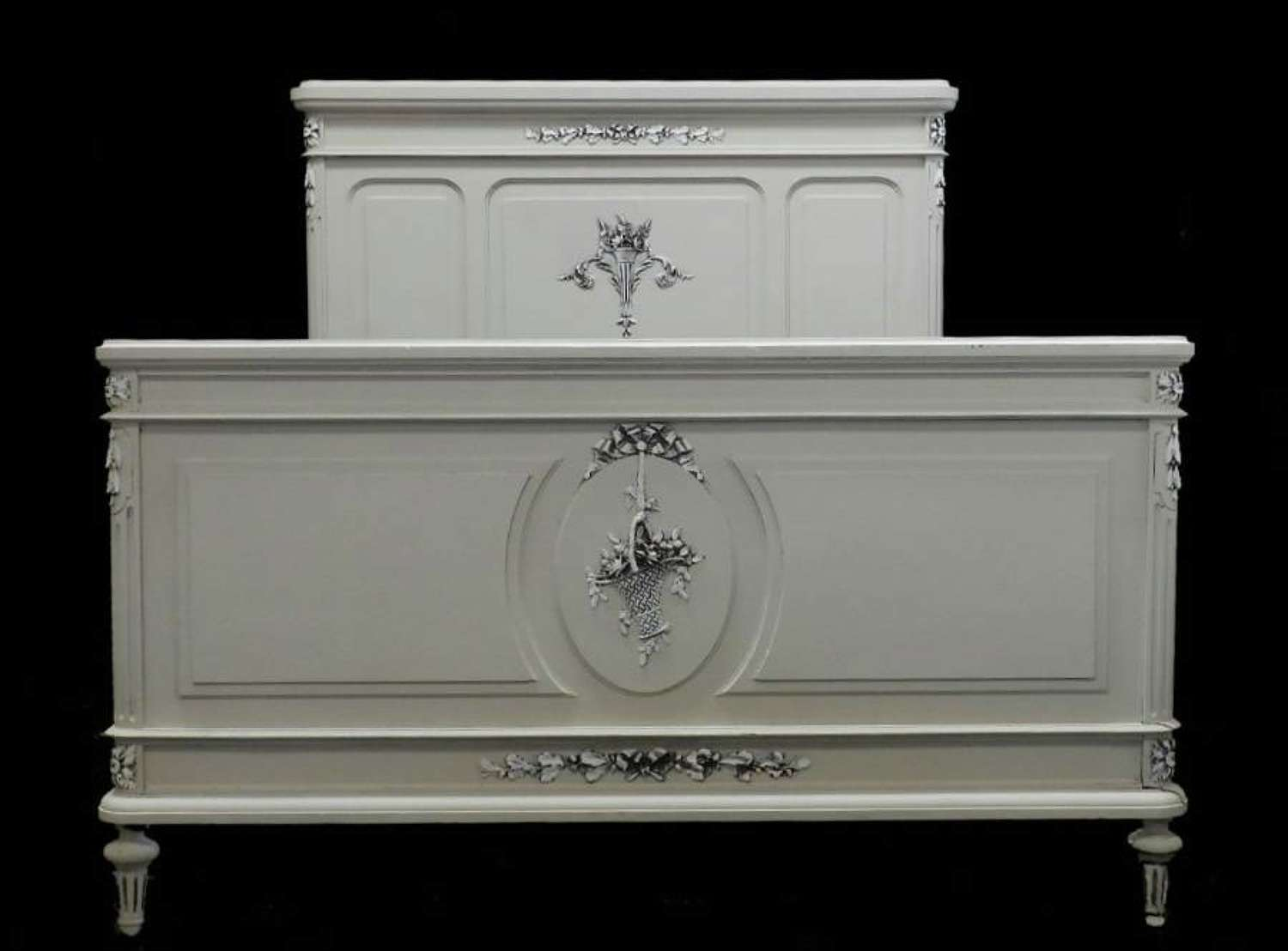 C19 Louis XVI French Antique Kingsize Bed painted