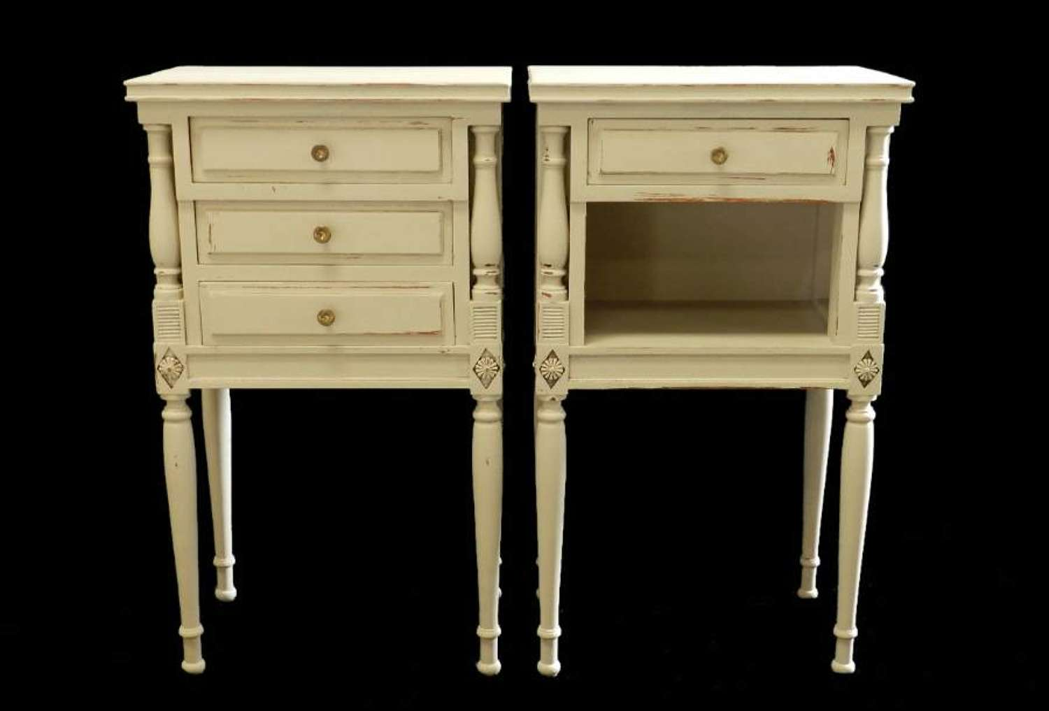 Pair French Bedside Tables Vintage Louis Cabinet Nightstands