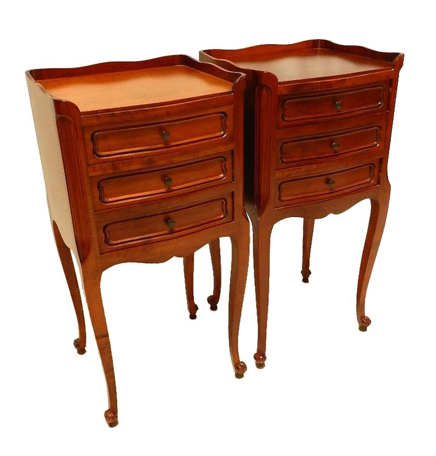 Pair of Louis revival Cherry French Bedside Tables Cabinet Nightstands