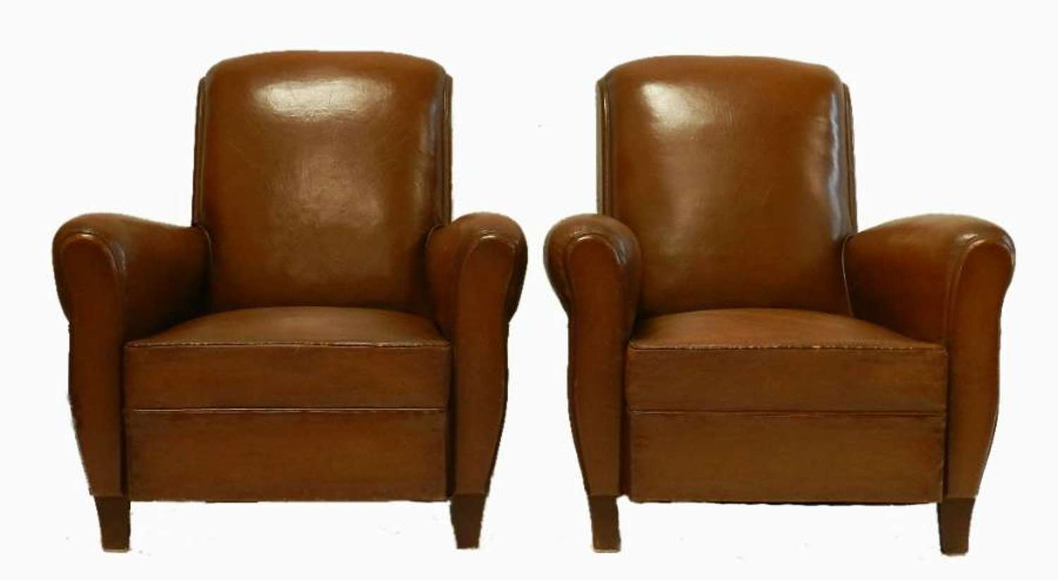 Pair of French Leather Club Chairs early C20 in superb original condition