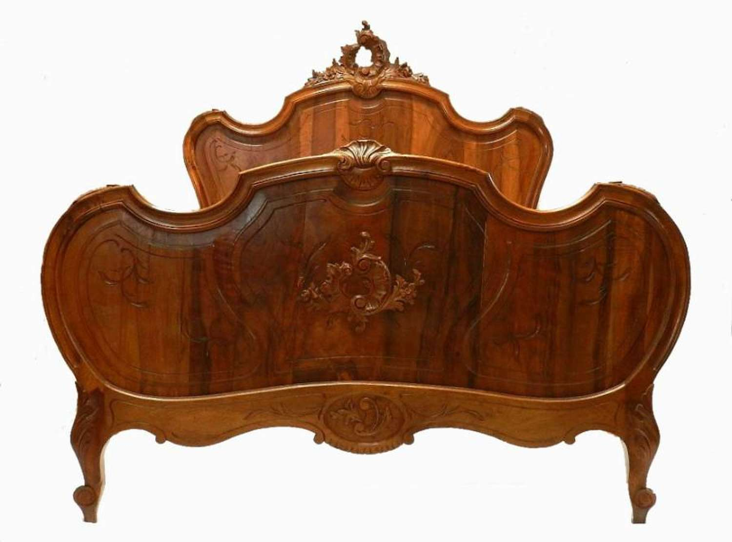 C19 Louis XV Antique French Double Bed Walnut