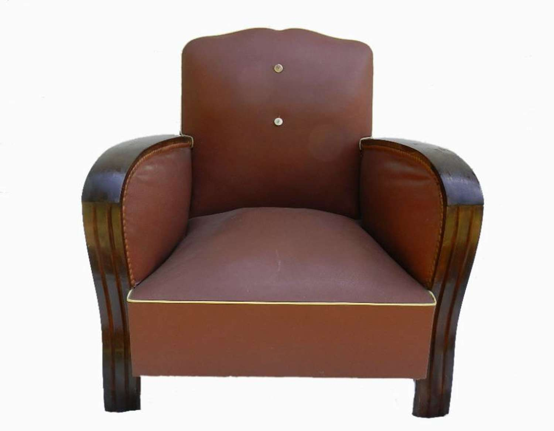 Diminutive Art Deco Moustache French Club Chair Childs Armchair