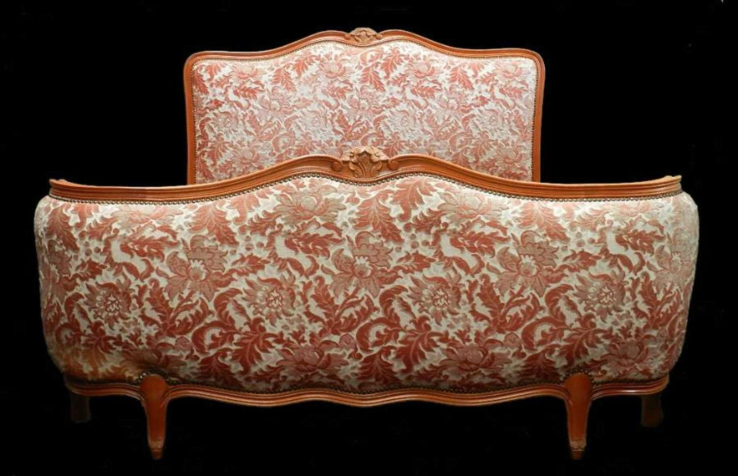 French Double Bed + Base Vintage Louis Corbeille