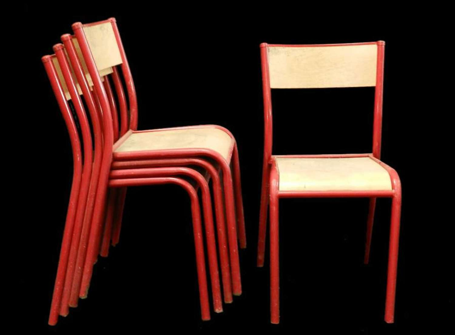 10 Red Stacking Chairs Mid Century (will sell as 6 & 4)
