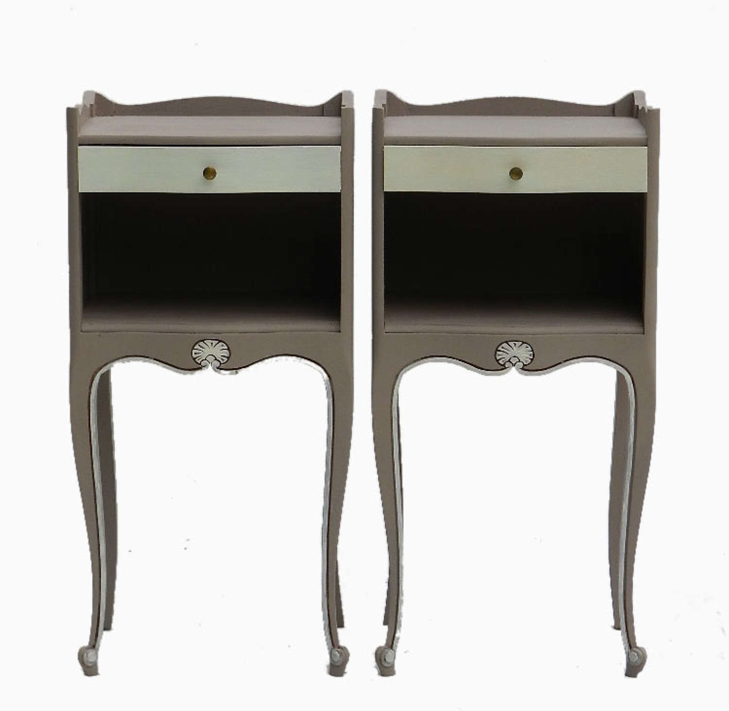 Vintage Pair of French Louis Bedside Tables Nightstands Unusually Painted