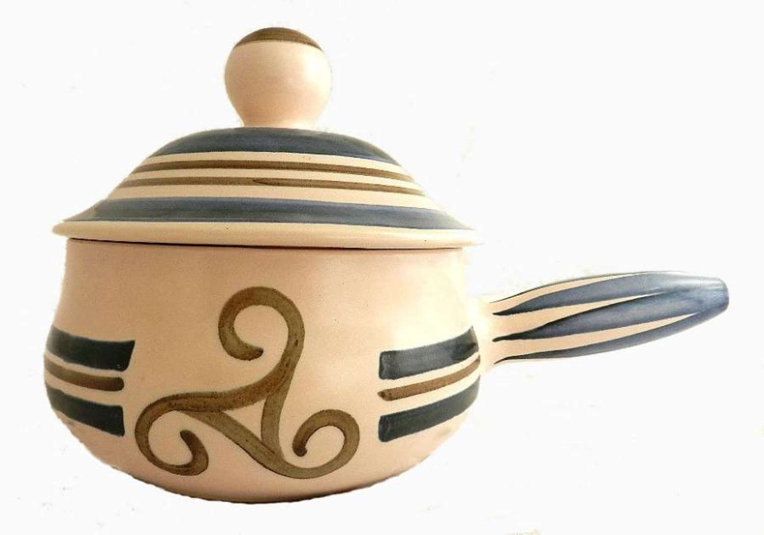 French Vintage Faience Gourin Tureen Bretagne Celtic Cross Triskell So